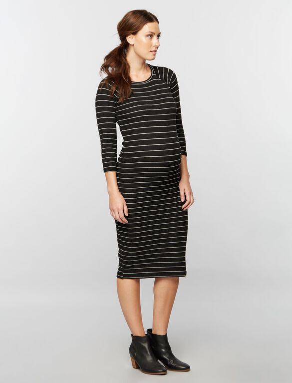 Exposed Zipper Maternity Dress, Blk/Heath Grey Strpe