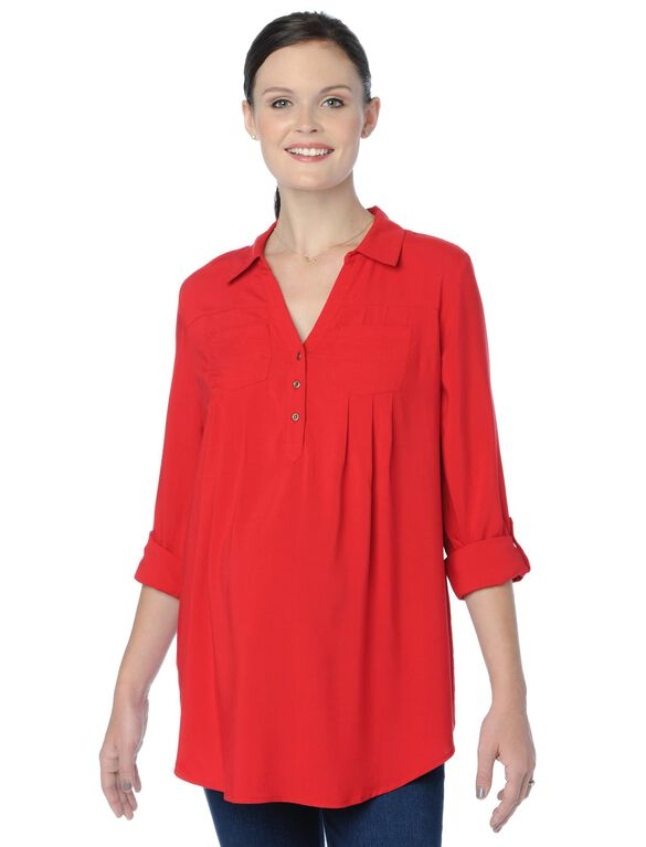 Lace Trim Maternity Shirt, Barbados Cherry