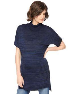 Turtleneck Short Sleeve Maternity Sweater Tunic, Navy