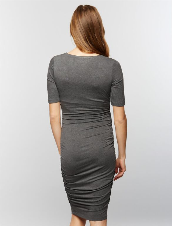 Ruched Maternity Dress- Grey, Grey