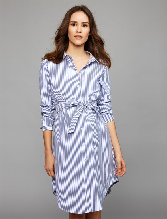Soon Button Front Maternity Dress, Stripe
