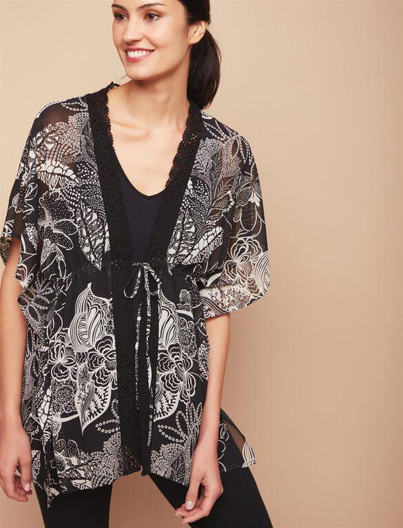 Floral Maternity Kimono, Black White Floral
