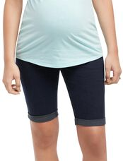 Secret Fit Belly Flap Pocket Maternity Bermuda Shorts, Dark Wash
