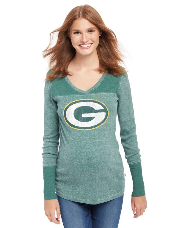 Green Bay Packers NFL Long Sleeve Maternity Graphic Tee, Packers Green