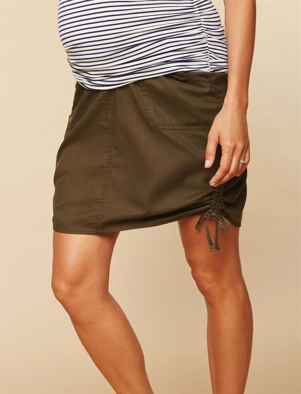 Secret Fit Belly Drawstring Maternity Skirt, OLIVE