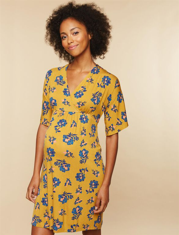 Tie Detail Maternity Dress, Yellow Print