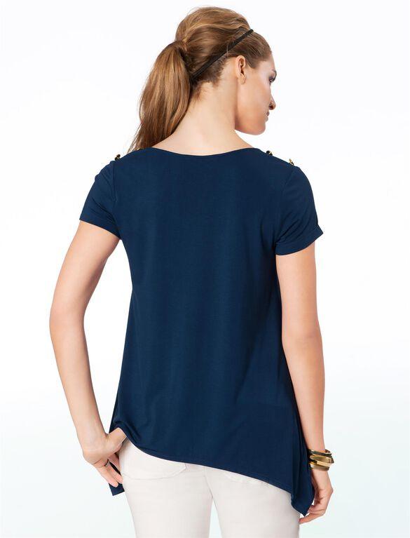 Rachel Zoe Jersey Knit Short Sleeve Maternity Top, Marine