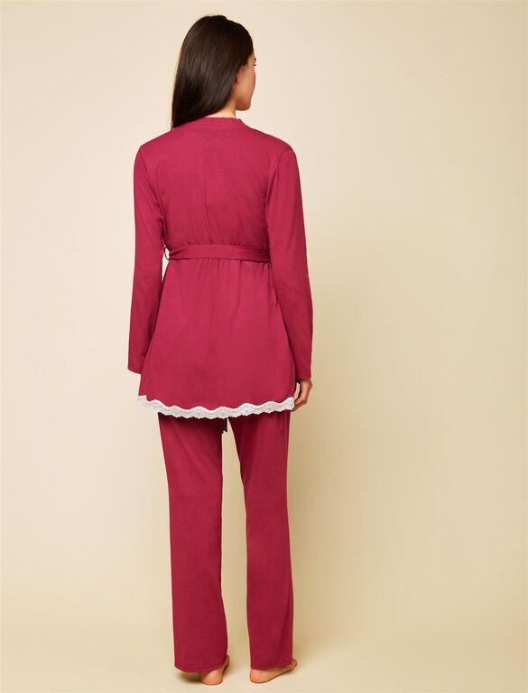Lace Trim 3 Piece Maternity Pajama Set, Beet Red Stripe