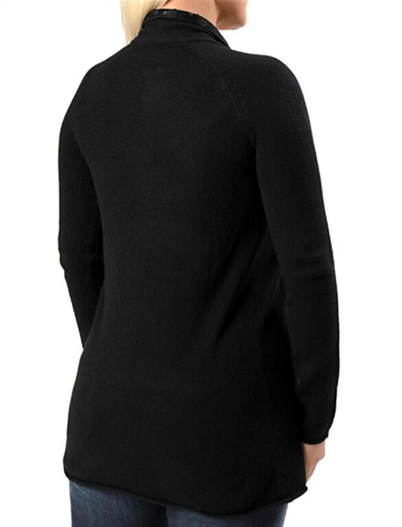 Decorative Trim Maternity Cardigan, Black