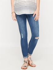 Luxe Essentials Denim Secret Fit Belly Ankle Maternity Jeans, Medium Wash