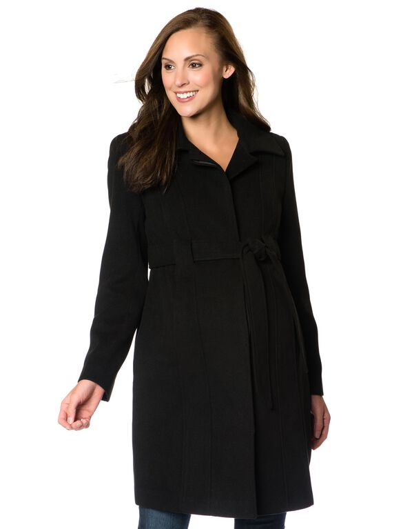 Belted Maternity Coat, Black