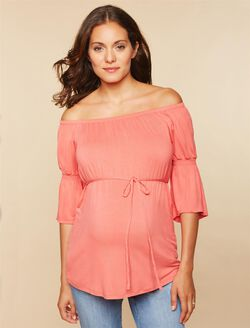 Off The Shoulder Maternity Top, Sunset