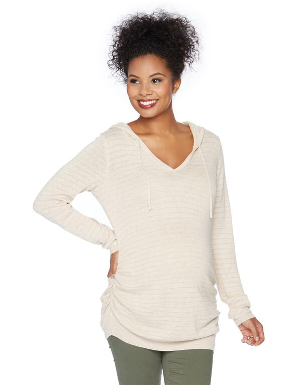 Hooded Pullover Maternity Sweater, Oatmeal Lyrex