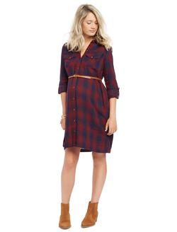 Classic Plaid Belted Maternity Shirt Dress, Burgundy