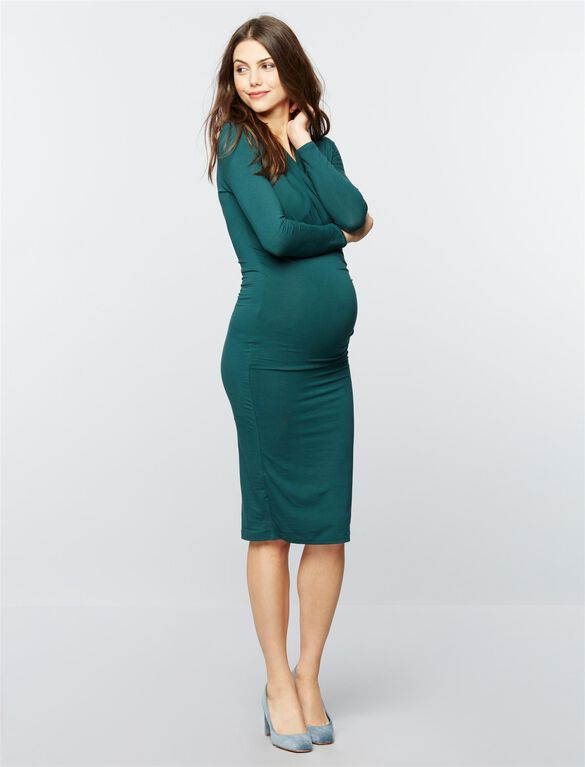 Isabella Oliver Balcome Maternity Dress- Dark Ivy, Dark Ivy