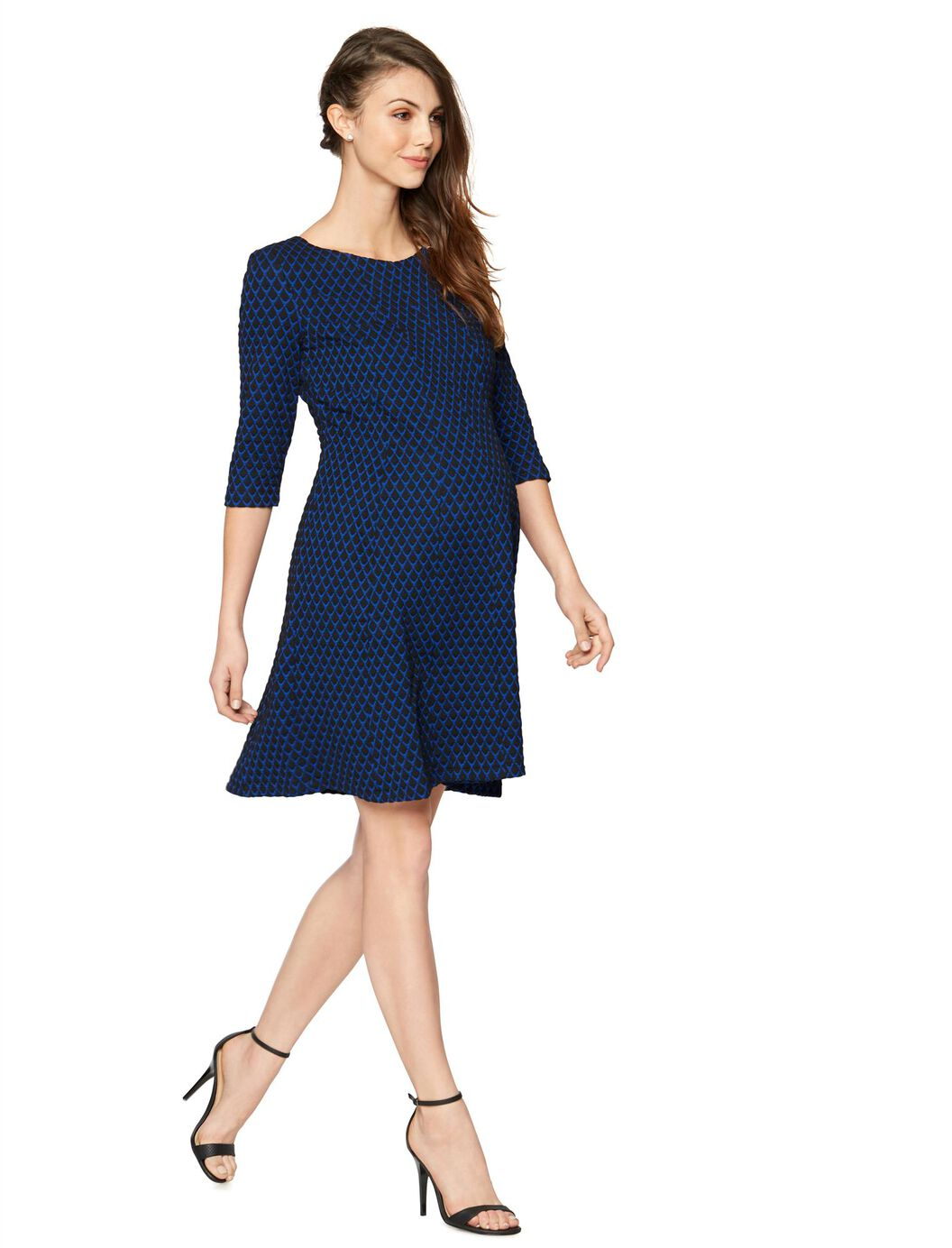 Taylor fit and flare maternity dress a pea in the pod maternity taylor fit and flare maternity dress royal blueblack ombrellifo Gallery