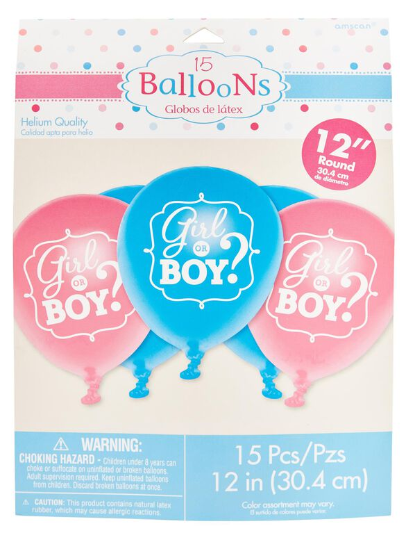 Girl or Boy Gender Reveal Balloons, Pink/Blue