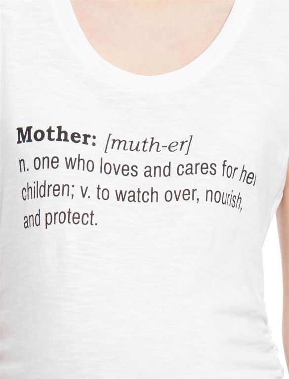 Mother Definition Maternity Tee, White Mother