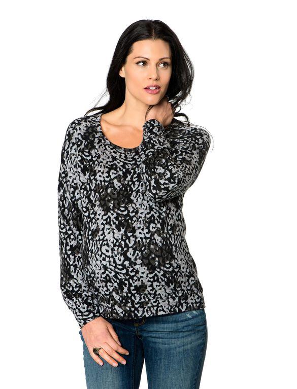 Super Soft Maternity Sweatshirt, Porcelain/Charcoal