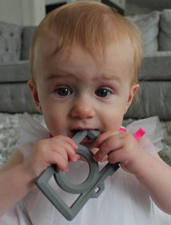 Little Standout Silicone Camera Teether, Grey Camera