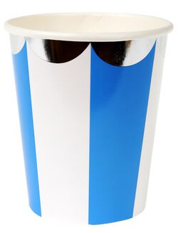 Meri Meri Striped Paper Cups, Blue Stripe