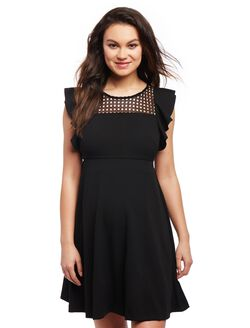 Eyelet Flutter Sleeve Maternity Dress, Black