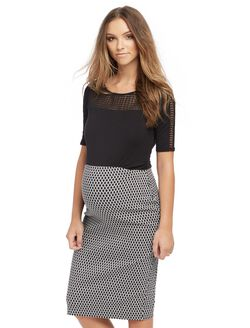 Secret Fit Belly Pencil Fit Maternity Skirt- Geo Print, Geo Print