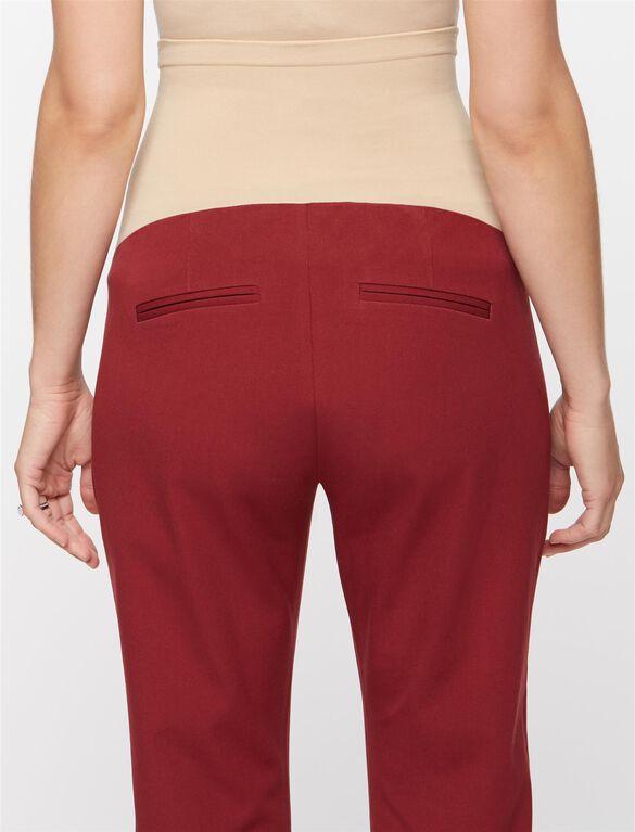 Secret Fit Belly Straight Ankle Maternity Pants- Lighter Navy, Divine Wine