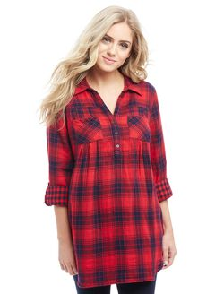 Front Pocket Maternity Shirt- Plaid, Red/Navy Plaid