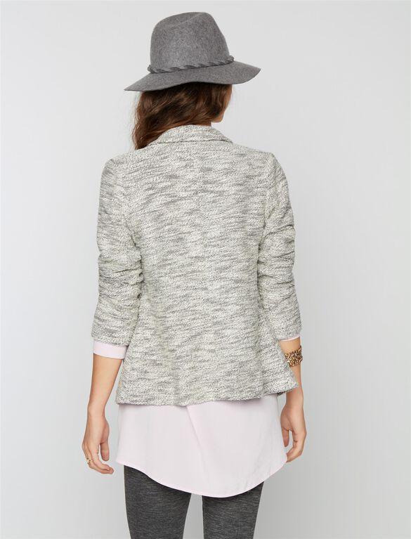 1 Button Closure French Terry Maternity Blazer, Gray/White