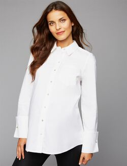 A Pea In The Pod Jeans Front Pocket Maternity Shirt, White