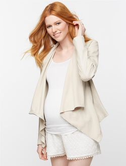 Blank NYC Faux Leather Maternity Jacket, Off White
