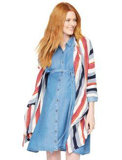 Splendid Open Front Maternity Sweater, Multi Stripe