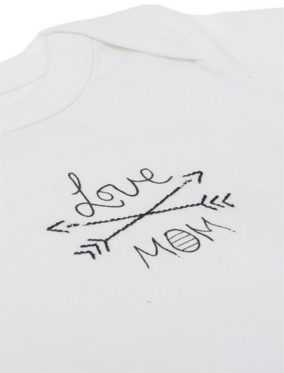 Finn + Emma Love Mom Organic Baby Bodysuit, White
