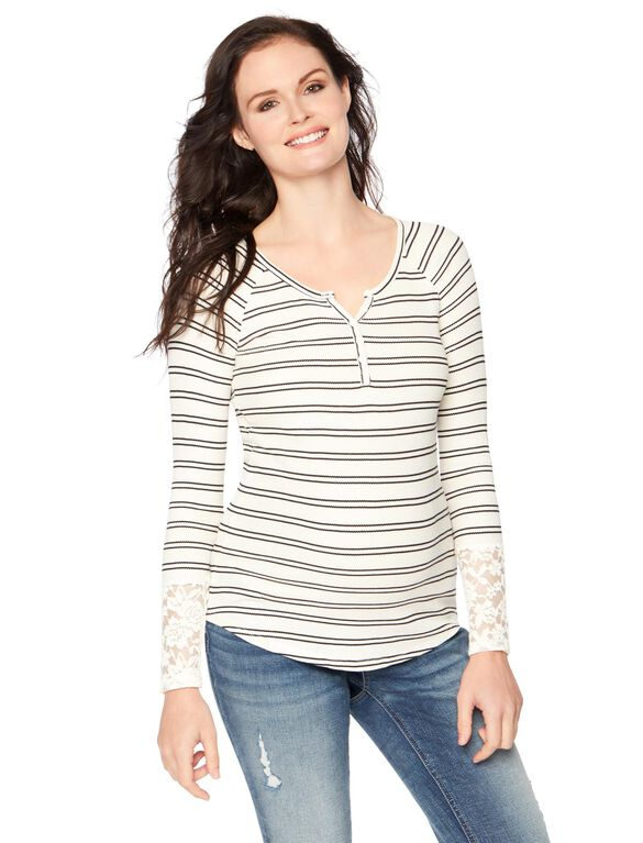 Wendy Bellissimo Henley Maternity Top, Black/White