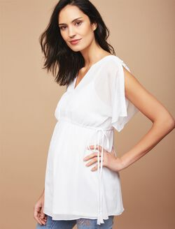 Split Shoulder Babydoll Maternity Blouse, White