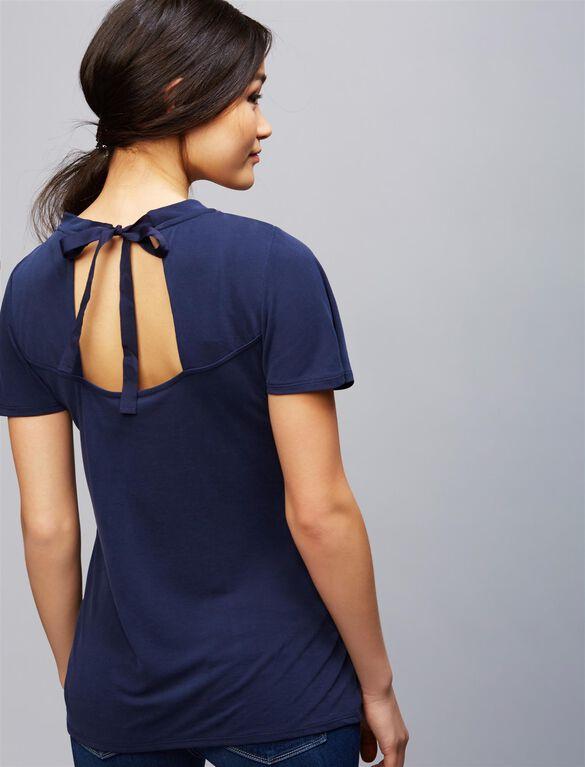 Flutter Sleeve Tie Detail Maternity Top, Navy