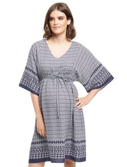 Wendy Bellissimo Keyhole Detail Maternity Dress, Navy/White Print