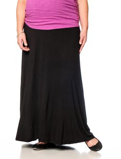 Plus Size Fold Over Belly Lightweight Maternity Skirt, Black