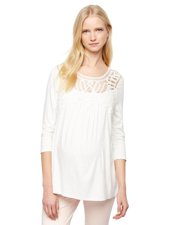 Daniel Rainn Lace Maternity Shirt, White