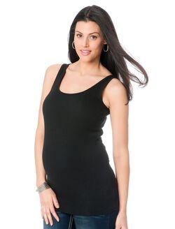 Rib Knit Maternity Tank Top, Black