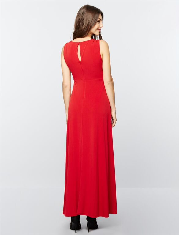 Draped Maternity Gown- Red, Red