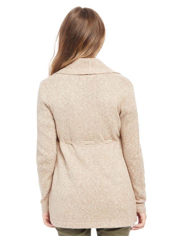 Drawstring Waist Maternity Cardi Sweater, Oat