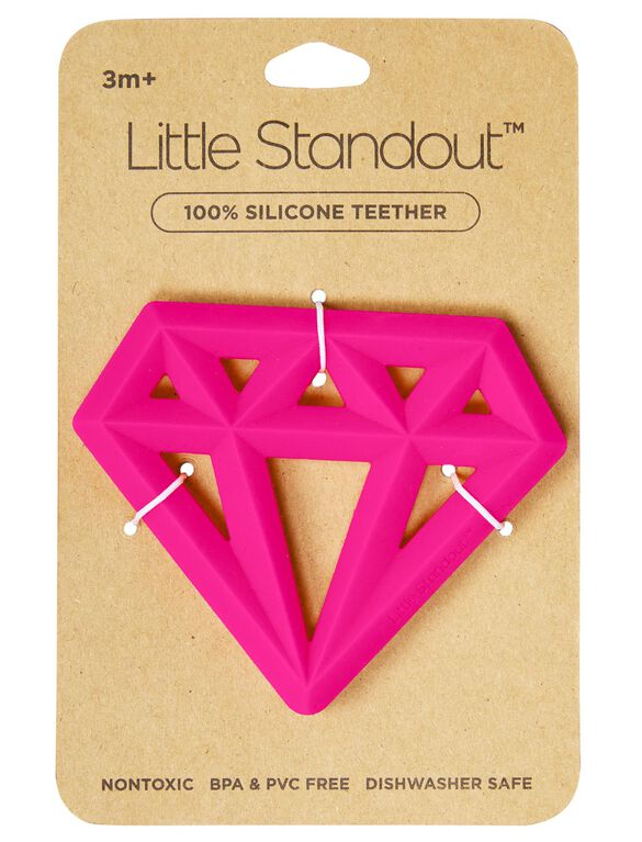 Little Standout Silicone Diamond Teether, Pink Neon Diamond