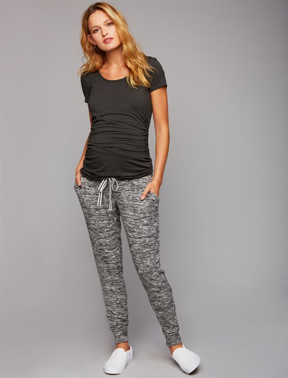 Under Belly French Terry Maternity Jogger Pants- Grey, Grey