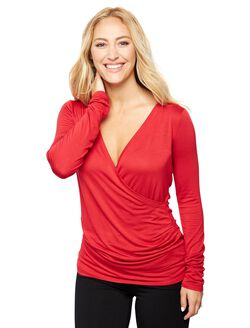 Faux Wrap Long Sleeve Nursing Sleep Top- Red, Red