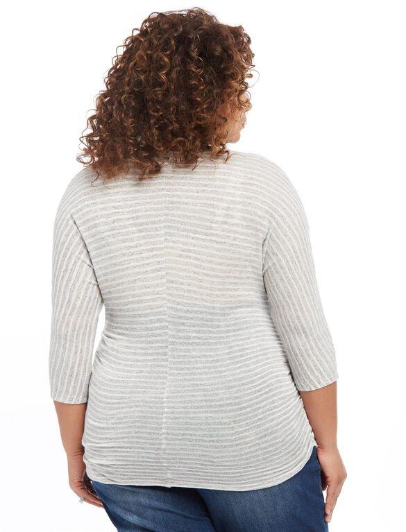 Plus Size Striped Dolman Maternity Top, Grey/White Stripe