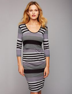 Ripe Striped Nursing Dress, Grey Stripe
