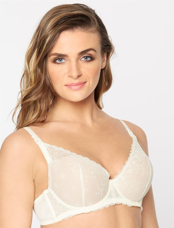 Le Mystere Molded Cup Underwire Lightly Lined Nursing Bra, Ivory