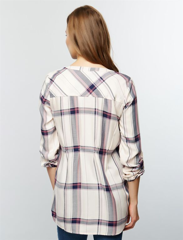 Luxe Essentials Denim Plaid Maternity Shirt- Pink, Pink Plaid